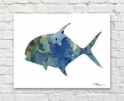 Permit Fish Abstract Watercolor Painting Art Print by Artist DJ Rogers