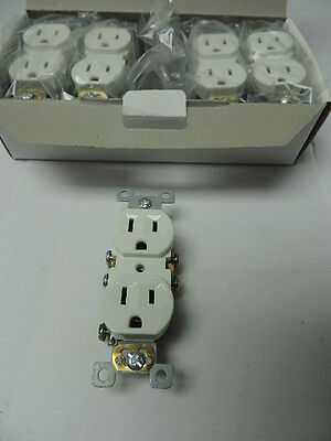 Lot of 10 White Duplex Outlet Residential Wall Receptacle 15A 120V Push Connect