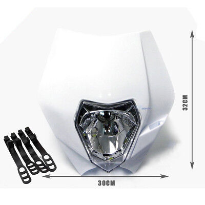 White Motocross MX Dirt Pit Bike Halogen Plastic Fairing Headlight for Rec Reg