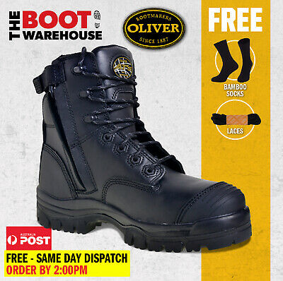 Oliver Work Boots, 45645Z, Zip / Lace-Up, Non-Metal Toe Cap Safety NEW!