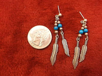 """Nice Pair Of Old Vtg Southwestern Sterling Silver """"feather"""" Earrings, Turquoise"""