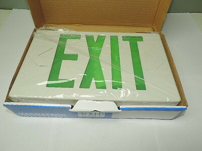LED Plastic Exit Sign 120V/277V White w/Green Letters 1 or 2 Sided Dual Circuit
