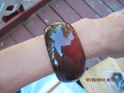 STELLAR Translucent Lucite Browns/Black HUED THICK Rounded Cuff Bracelet..#6366
