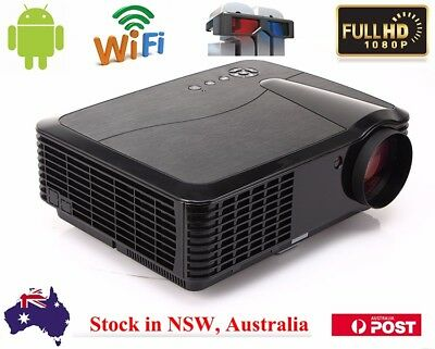 Wireless 1080P Full HD 4500 Lumens Home Theater Android HDMI USB LED Projector