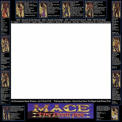 MACE THE DARK Age Arcade Moves List Bezel Panel Artwork Art CPO Midway  Midway