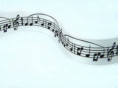1 metre Black and White music notes lace cake ribbon musical gift wrap card