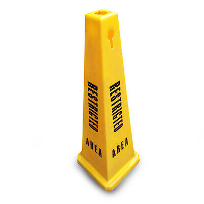 """JSP CLOFF1231 Yellow 35"""" Safety Cone 'Restricted Area' Keyhole' Type"""