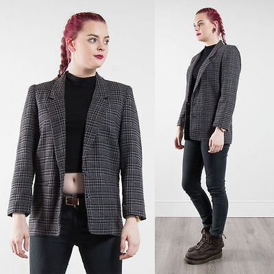 Vintage Grey Check Plaid Houndstooth Blazer Jacket Oversize 80's Country 10