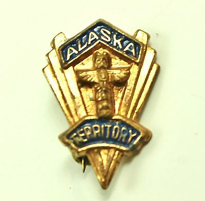 Vintage ALASKA TERRITORY with First Nations Totem Souvenir Lapel Pin