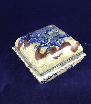 Antique Japanese Cracked Glazed Trinket Box Erotic Motif Rare Artist Signed