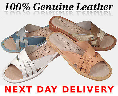 Lady's Woman 100% Leather Slippers Flip-Flop Sandals Slip On 3 4 5 6 7 8 9 10 11