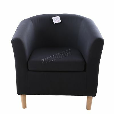 FoxHunter Linen Fabric Tub Chair Armchair Dining Living Room Lounge TC03 Black