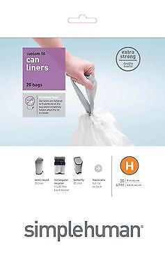 Simplehuman code/size H (30-35 litres) bin bag liner, CW0212 (Box of 50)