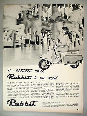Rabbit S-402 BT Motorcycle PRINT AD - 1965 ~ motor scooter