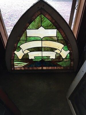 Sg 672 Antique Gothic Arch Top Stainglass Window Two Available Price Each