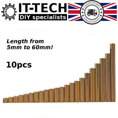 10x M3 Thread Female to Female Brass Hex Pillars Standoff Spacer Various Size