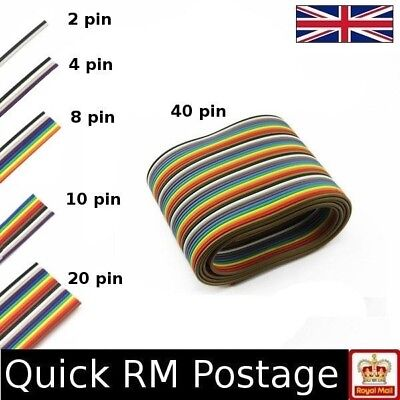 1m 2m 5m 29 AWG 0.32mm Rainbow Ribbon Flat Cable 2 4 8 10 20 40 way Arduino