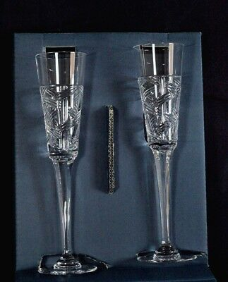 🔥mikasa Set Of 2 Platinum Collection champagne flutes. Platinum Lead Crystal🔥