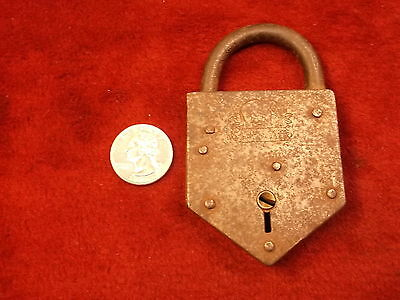 "Very Old Vtg Antique Cast Iron ""miller Lock Co"" (Philly), Elephant Logo Padlock"