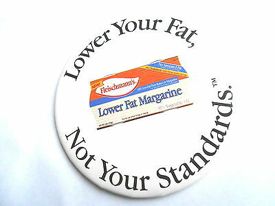 Vintage Fleischmann's Lower Fat Margarine Butter Substitute Advertising Pinback