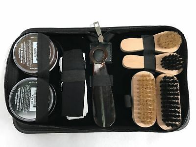SHOE SHINE KIT DELUXE 9 Piece - INCLUDES 2x POLISH + BRUSH + SHOE HORN + CLOTH