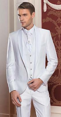 Slim Fit Groom Tuxedos Men's Suits White Groomsman/Best Man Wedding/Prom Suits