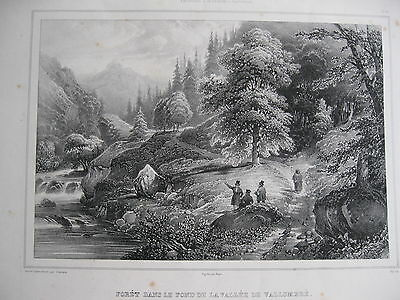 Lithographie/estampe/CHAMPIN 1838/ DAUPHINE: CHARTREUSE. VALLEE DE VALLOMBRE.