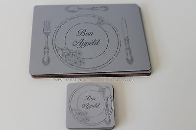 4 Table Mats And Coasters Bon Appetit French Vintage Style