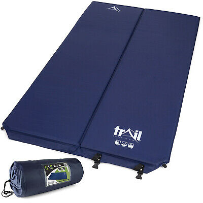 Double Self-Inflating Camping Roll Mat Camp Bed Inflatable Sleeping Mattress