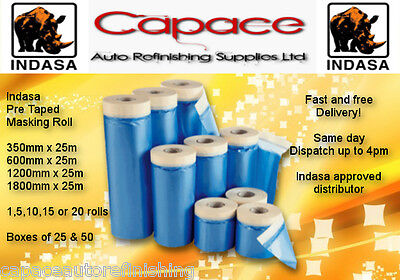 Indasa Various Drop Cover Roll Masking Tape Poly Film Sheet Pre Taped x 25m