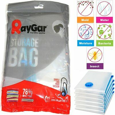 RayGar 6 Packs 50 x 70 Vacuum Compressed Storage Bags Saving Space Seal Vac Bag