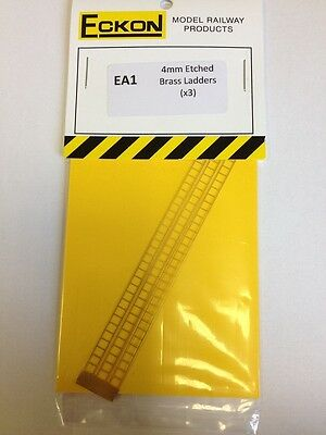 Eckon EA1 OO Gauge 4mm Scale  3 x Etched Brass Ladders - 1st Class Post