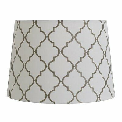 allen + roth SH2892 9-in x 13-in White with Gray Embroidery Fabric Drum Lamp Sha