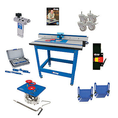 Kreg PRS1045 Router System, Router Table Lift, Caster, Switch, Bars, DVD