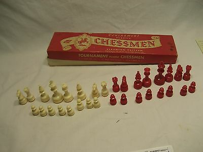Vintage Lowes # 807 Red and Ivory Plastic tournament Chess Men