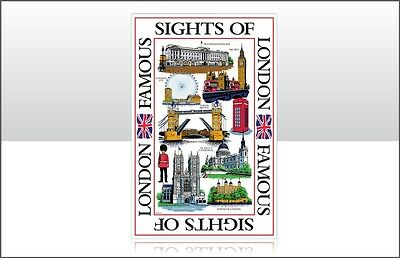Large Sights of London Scene Tea Towel Souvenir Great Gift