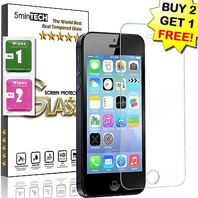 Tempered Glass Premium Real High Quality Screen Protector For Iphone 5, 5C, 5S