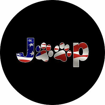 Jeep Paws FLAG Custom Spare Tire Cover - Wheel Cover (all sizes available)