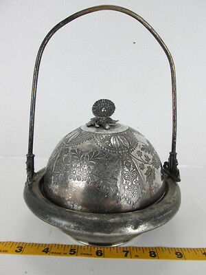 Antique Meriden B. Company Chilled Butter Dish Silverplate Caviar Flower DesignT