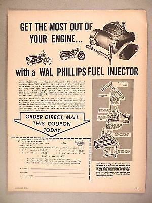 Wal Phillips Motorcycle Fuel Injector PRINT AD - 1964