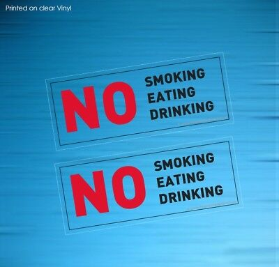 10 No Smoking Eating Drinking Transparent Stickers Sign Taxi Vehicle(Stkpn00081)