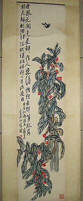 """Excellent Chinese Hand Painting Fruit and Leafs By Qi Baishi齐白石 94"""""""