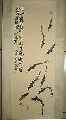 Excellent Chinese Hand Painting fish By Qi Baishi齐白石 鱼群