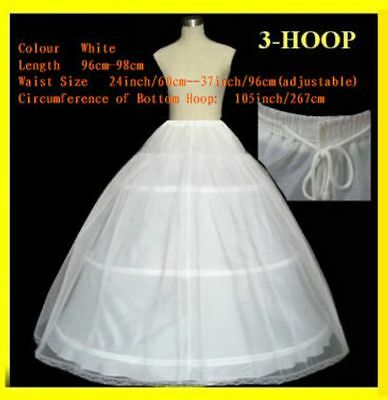 New White 2 Layers 3 Hoop Wedding Bridal Petticoat A Line Ball Gown Crinoline