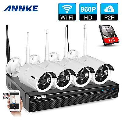 ANNKE 4CH 2.4GHz Wireless CCTV DVR Outdoor HDMI 960P Camera Record NVR System 1T