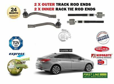 FOR HYUNDAI I40 2012-> NEW 2 X OUTER + 2x INNER STEERING TRACK RACK TIE ROD ENDS
