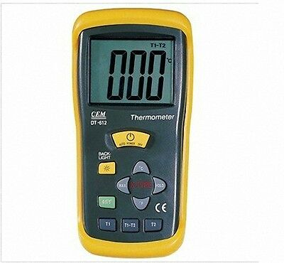 Digital Two-Channel Thermocouple Thermometer -50C to 1300C -58 to 2000F DT-612(A
