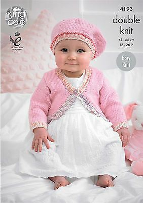King Cole Knitting Pattern Baby Cardies and Beret in King Cole DK (4193)