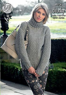King Cole Knitting Pattern Sweater and Cardigan in King Cole Chunky (4274)
