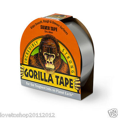 Gorilla Glue Silver Tape 32m x 48mm Roll Strong Duct Gaffer Tape